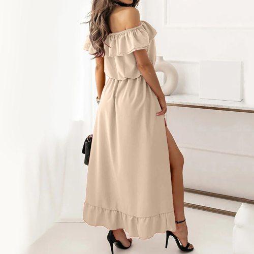 Summer Dress Women Elegant Dresses Fashion Solid Slash-neck Casual Asymmetry Ruffle Vacation Long Robe Femme платье летнее
