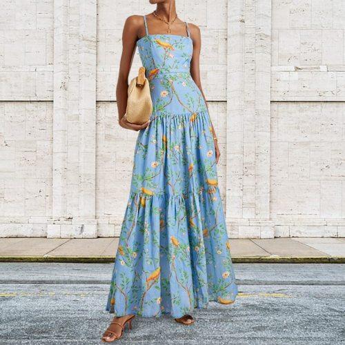 New Women Sexy Sleeveless Strap Maxi Dress Summer Fashion Printed Blue Dress Casual Slim Dress Party Dress Boho Dress