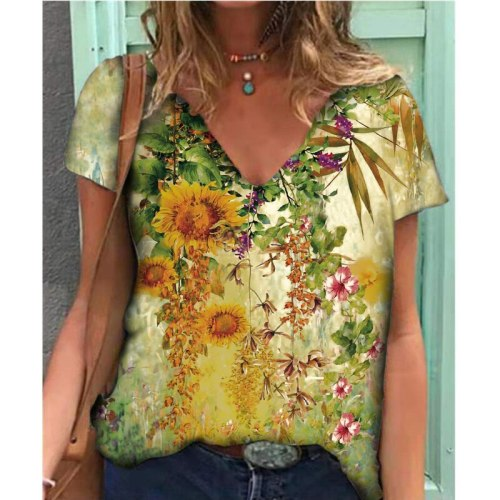 Summer Print Tshirt Women Plus Size Loose Batwing Sleeve V-Neck Casual T Shirt for Women