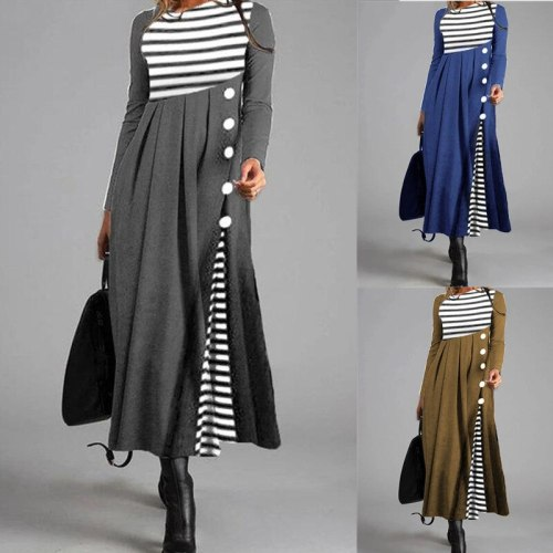 Spring New Women'S Hot Style Fashion Round Neck Striped Color Matching Loose Large Size Ladies Large Put On Mid Length Dress