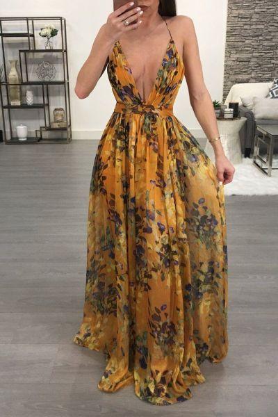 Print Floral Loose Boho Deep V Neck Backless Long Women Dress 2018 Maxi Dresses Vestidos Sexy Back Cross Beach Summer Dress