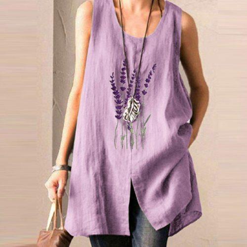 Women Shirt Purple Printes Shirt Tops Casual Loose Sleeveless Shirt Tops 2021 Summer Women Clothes Tunic Blusas Pullover Tops