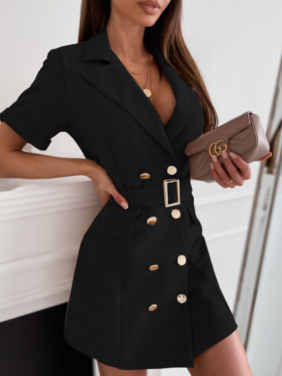 Elegant Blazer Mini Dress Women Notched Sexy Bodycon Sashes 2021 Office Ladies Long Sleeve Party Wrap Dress Spring