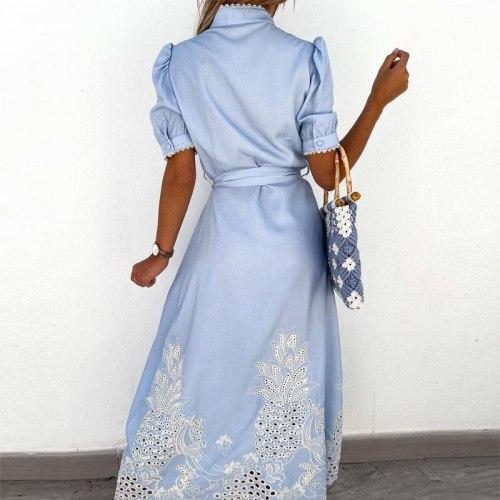 Women Stand Collar Button Long Shirt Dress Spring Embroidery Flower Lace Maxi Dress Summer Puff Sleeve Spliced Party Dress Belt