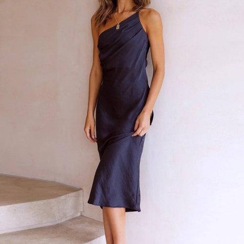 Sexy Sleeveless Dresses For Women Summer Solid Off Shoulder Party Dress Elegant Slash Neck Backless Tie Up Slim Dress Vestidos