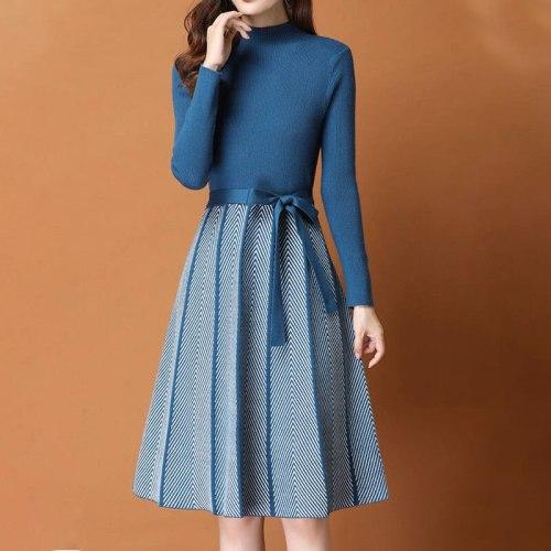 Elegant Knitted Sweater pleated Dress Female Autumn Winter Dress Long Sleeve Sweater  Women Dress Office Lady Casual Midi Dress