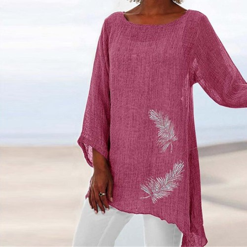 Summer Women Feather Print Round Neck Long Sleeve Pullover T-shirt Women Tops