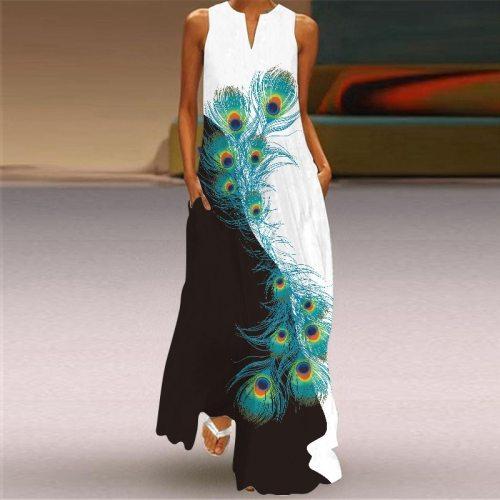 Large Size Sexy V-neck 3D Painting Print Emerald Flower Dresses 2021 Summer Sleeveless Long Dress Casual Beach Dress Party Dress