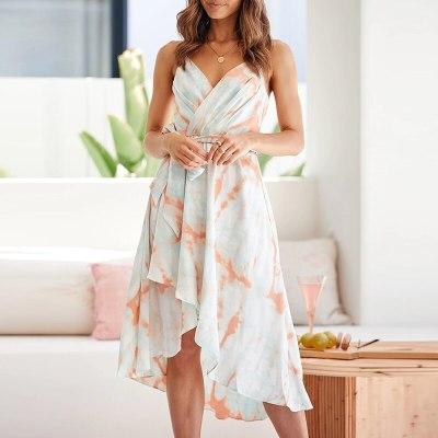 Boho Beach Summer Sleeveless Dress Women Bow Tie Plus Size Mid Dresses Casual Wrap Sexy Ruffles Tie dye Dress Vestidos