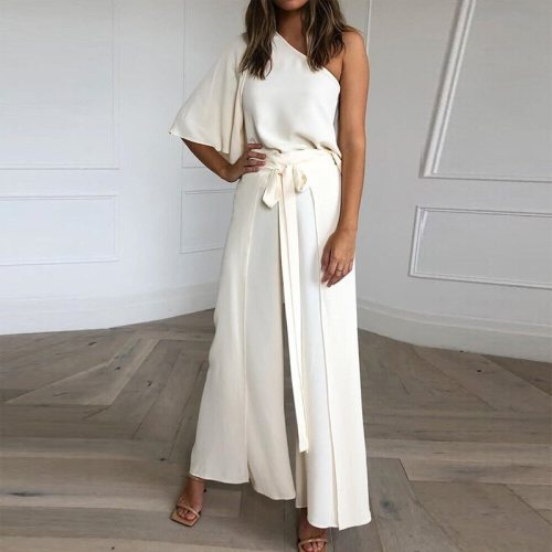 Elegant Solid Women Sets Summer Half Sleeve Pullover Top + Drawstring Long Pants Outfit Summer Casual Fashion Loose 2 Pieces Set