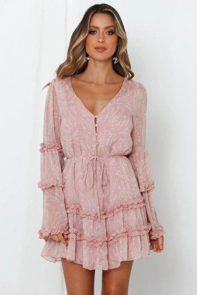 Dress Women 2021 New Arrive Spring V Neck Button Flare Sleeve Ruffles Chiffon A Line Short Dresses