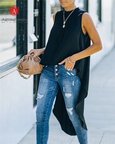 Summer Sleeveless Lady Shirt Solid Color Office Lady Asymmetric Length O-Neck Button Pullover Women Top