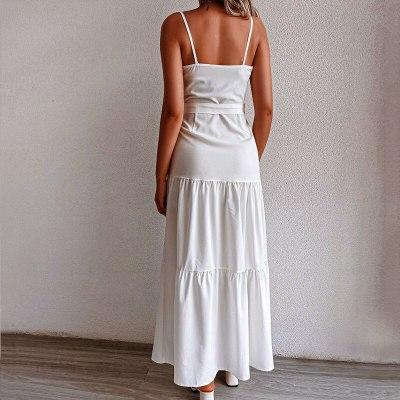Holiday boho Dress summer new women's personalized button V-neck stitching suspender dress 2021 maxi dresses for women vestido