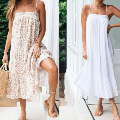 Casual Elegant 2021 Summer Women Dress Fashion Spaghetti Straps Loose Maxi Dress Women Dress