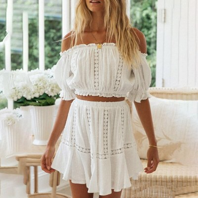 Girls White Cotton Lace Hollow Out Long Dress Woman Backless Spaghetti Strap High Waist 2021 Summer Comfortable Dresses Women