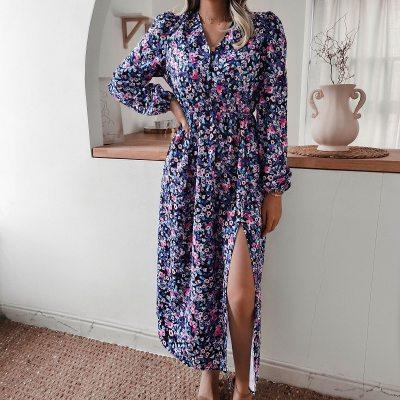 Autumn Vintage A-Line Print Mid-Calf long Dress women 2020 Split Sexy print V button slit dress boho dresses women vestidos