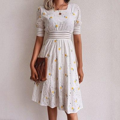 New summer dress vintage hollow embroidered sweet dress waist slimming square neck short sleeve dress female 2021 vestidos