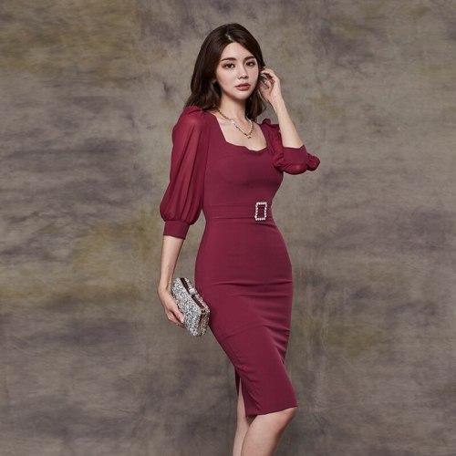 2021 autumn Elegant Red square Collar Puff Sleeve high waist slim tight dress Formal Party Night Club dress Winter