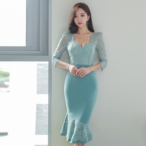 Spring Elegant Lace Patchwork Office Work Dress Women V-neck High Waist Bodycon Mermaid Dresses New Korean Party Vestidos