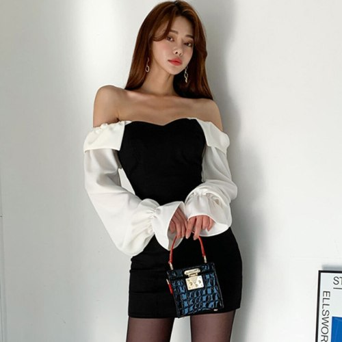 Black High Waist Tight Dress 2021 Spring Square Collar White Puff Sleeve Sexy Backless Elegant Party Dress Women