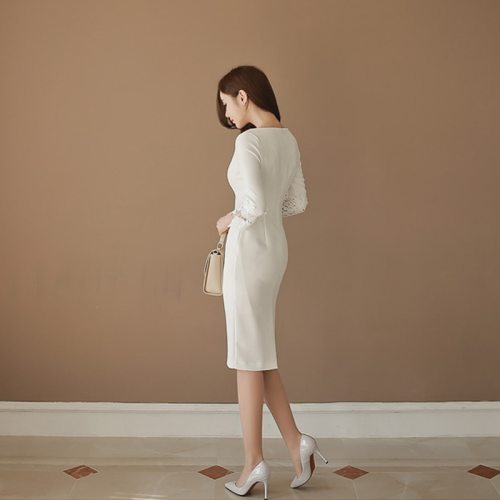 Thick Warm Autumn Winter New Elegant Formal Party Dress Lace Sleeve White Slim Sheath Dress Office Lady Work Spring