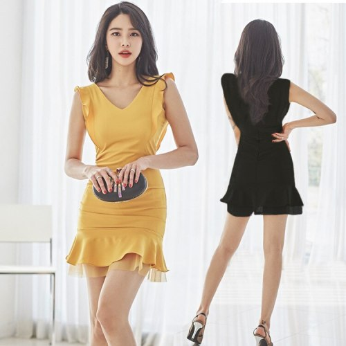 Summer New Korean Style Elegant V-neck Mesh Patchwork Ruffled Slim-Fit Sheath Dress