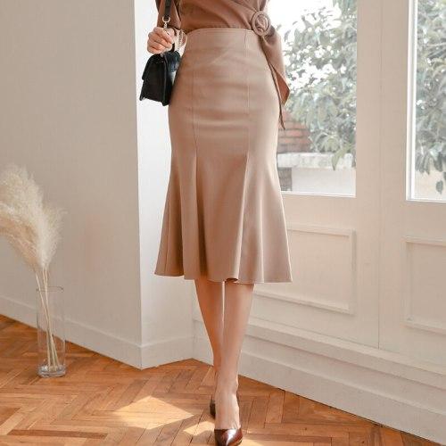 New Women High Waist Midi Skirts Plus Size Ruffles Black Khaki Apricot Office OL Skirt Fashion Package Hip Mermaid Skirts Womens