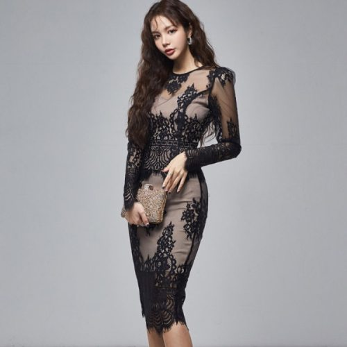 Spring Two Piece Set 2021 New Fashion Women Sexy Hollow Out  Lace Tops+Office Ladies Bodycon Pencil Skirts Suit