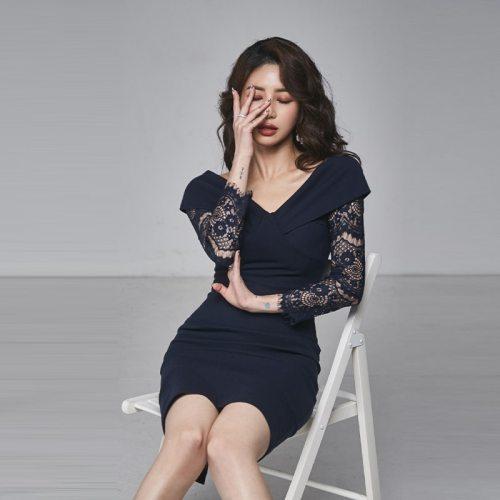 2021 Spring New Formal Party Dress Elegant Blue Lace Long Sleeve Sexy V-neck Slim Pencil Dress
