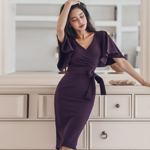 Elegant V-neck Lace Up Ruffles Women Dress Sexy Hip Package Mid-length Cloak Sleeve Female Dress 2021 OL Style vestidos femme