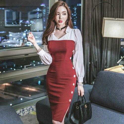 Plus Size Pencil Dress Women Autumn Black Red Patchwork Full Sleeve V-neck Knee-length Elegant Office Dress Modis Work Dresses