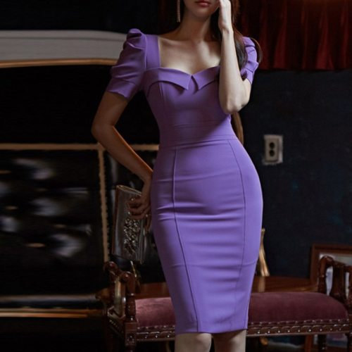 New Arrival Fashion High Quality Backless Pencil Dress Women Elegant Summer OL Temperament Sexy Work Style Solid Bodycon Dress