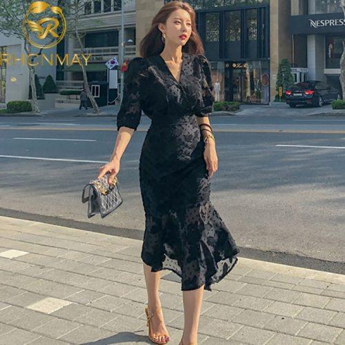 2021 Spring New Korean Style Office Ladies Midi Mermaid Dress Women Chiffon Three Quarter Sleeve Bodycon Ruffles Party Dresses