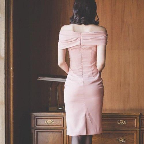 Slash Neck Summer Dress Women's 2021 New Pink Sheath Pencil Bodycon Dresses Simple Korean Office Wear Party Vestidos