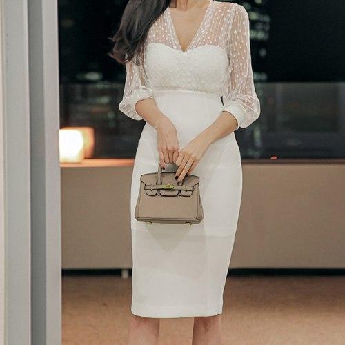 2021 White Polka Dot Embroidery Cocktail Dress Lace Deep V-neck Sexy Office Pencil Dress White High Waist Bodycon Dress Vestidos