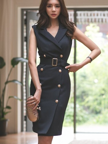 New Summer Sleeveless Notched Blazer Dress Double Breasted Sashes Bodycon Pencil Knee-Length OL Work Vestidos