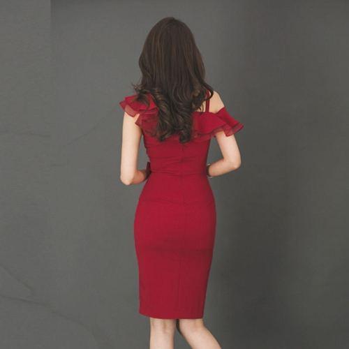 2021 Summer Party Dress Women Elegant Red Ruffle Slim Pencil Dress Bodycon Formal Work Dresses