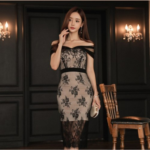 2021 Early Spring One-line Collar Stitching Contrast Color Lace Base Dress European American Style Sexy Dress