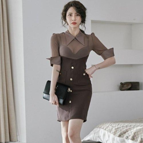 New Arrival Fashion Korean Spring Mini Beach Dress Women OL Temperament Sexy Perspective Mesh Chiffon Slim Pencil Holiday Dress