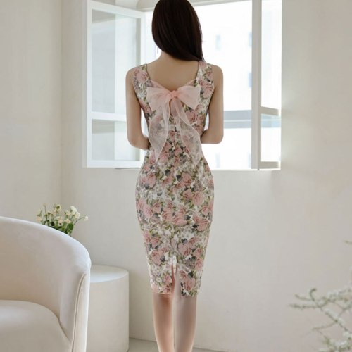 Summer New Elegant Floral Printed Party Night Club Dress Sexy Sleeveless V-neck Backless Bow Slim Pencil Dresses 2021