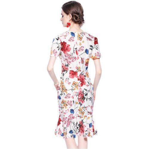 Summer Dresses Women Flare Sleeves Print Mermaid Dress Ladies Clothing Robe Femme Jurken Zomer 2021 Dames SG14143