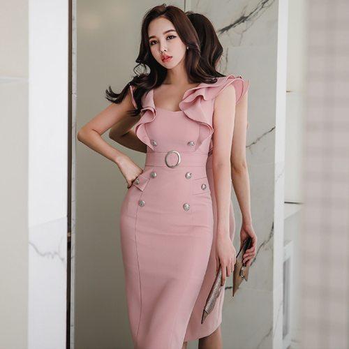 2021 Summer High Quality Sexy Women's Dress New Fashion bodycon Pencil Dress Women Ruffles sleeveless Office OL work Dress