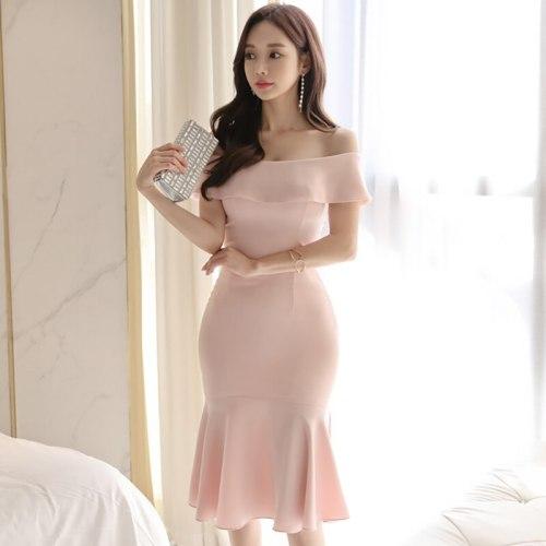Brand Elegant Women Dress New Summer Sexy Pink Dew Shoulder Fashion Clothing Plus Size Korean Lady Fishtail Dress