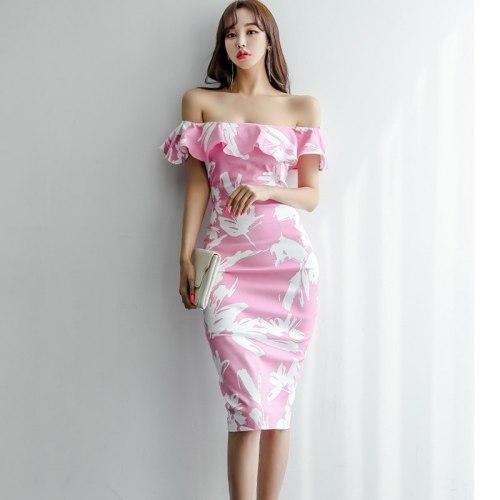 Korean Fashion Elegant Ladies Print Ruffle Off Shoulder Tube Dress Summer Women Sexy Back Slit Slim Wrap Bodycon Dresses jurken