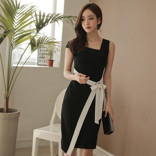 Women Slash-neck Hit Color Lace Up Midi Dress Sleeveless Slim Waist Summer Elegant Work Business Dresses vestidos femme 2021