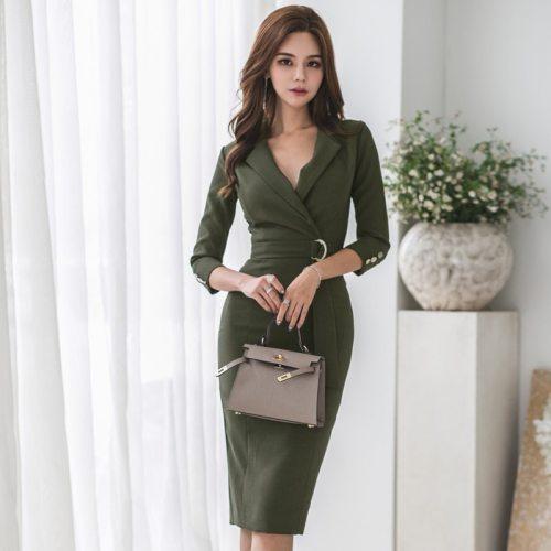 Army Green V-neck Sashes Bodycon Female Pencil Dress OL Style Lace Up Mid-length Women Dress Slim Waist Vestidos 2021