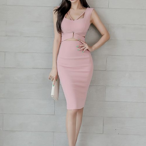 New Arrival Fashion Sexy Hollow Out Party Formal Dress Women Elegant Vintage Sleeveless High Quality Backless Sexy Pencil Dress