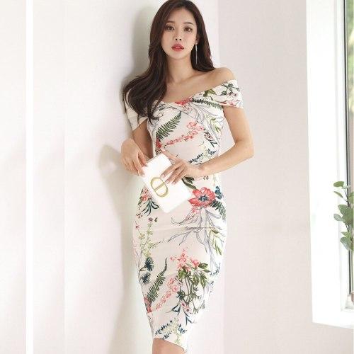 Summer Dress Elegant Vintage Off Shoulder Women Dresses Bodycon Bandage White Floral Sundress Party Sexy Evening Korean Clothes