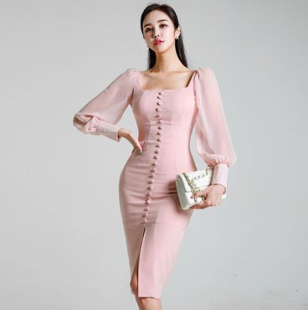 New Elegant Party Dress Long Sleeve Square Collar Pink lace Slim  Dress Bodycon Formal Dress Autumn Korean Style LJ495