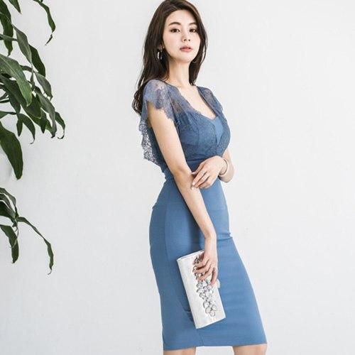 Blue Elegant Office Dress 2021 Summer Pencil Sexy V-Neck Sleeveless Lace Decorative High Waist Slim Party Dress Women